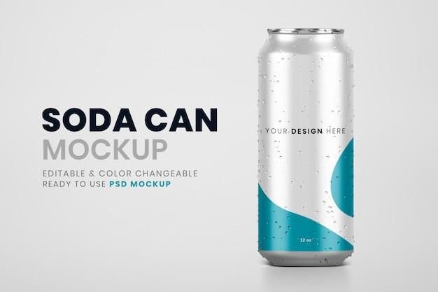 Refrigerante frio pode mockup psd, marca de produto de bebida