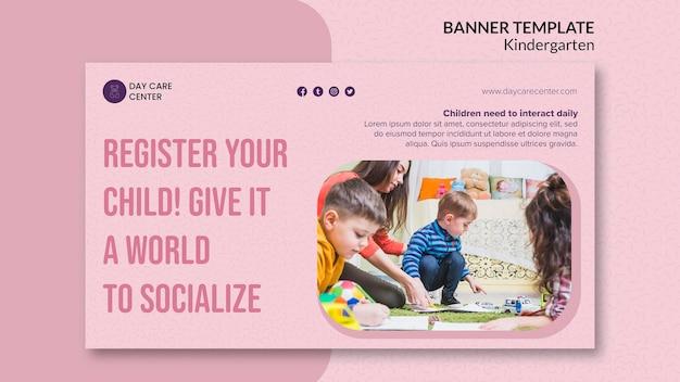 Registre o seu modelo de banner de jardim de infância infantil