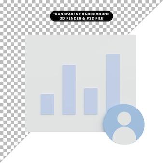 Relatório de gráfico de dados de ilustração 3d e ícone de pessoas