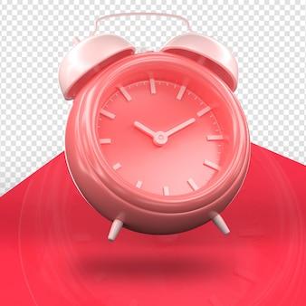 Relógio alarme 3d renderização minimalista