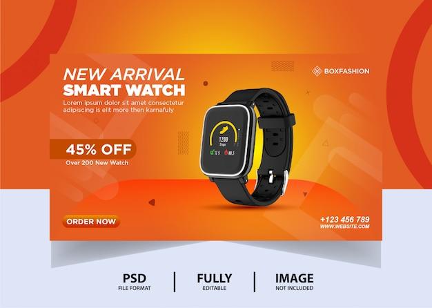 Relógio cor laranja marca web banner design