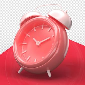 Relógio de alarme 3d render minimalista