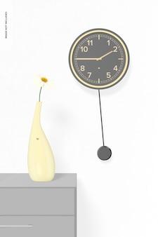 Relógio de parede de pêndulo com maquete de vaso de flores