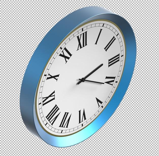 Relógio de parede isolado. metal azul. móveis agradáveis para o interior. plano de fundo transparente. vista isométrica. 3d premium.