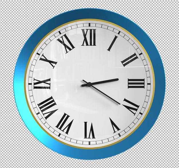 Relógio de parede isolado. metal azul. móveis agradáveis para o interior. plano de fundo transparente. vista isométrica frontal. 3d premium.