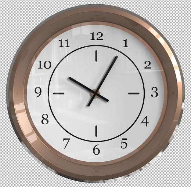 Relógio de parede isolado. metal creme. móveis agradáveis para o interior. plano de fundo transparente. vista isométrica frontal. 3d premium.