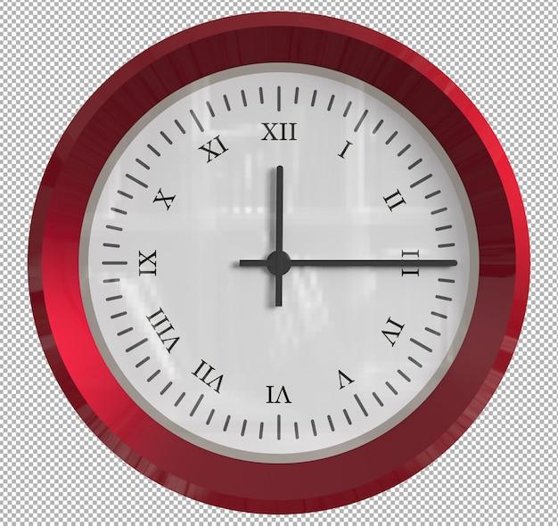 Relógio de parede isolado. metal vermelho. móveis agradáveis para o interior. plano de fundo transparente. vista isométrica frontal. 3d premium.