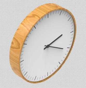 Relógio de parede isolado. relógio de madeira. móveis agradáveis para o interior. plano de fundo transparente. vista isométrica. 3d premium.