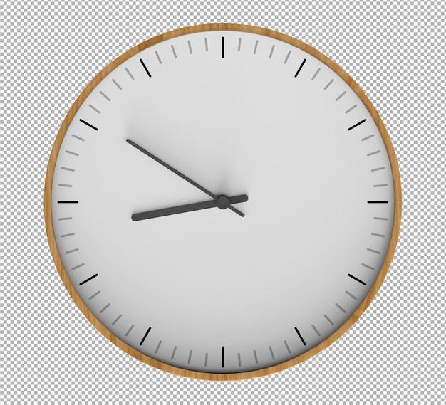 Relógio de parede isolado. relógio de madeira. móveis agradáveis para o interior. plano de fundo transparente. vista isométrica frontal. 3d premium.