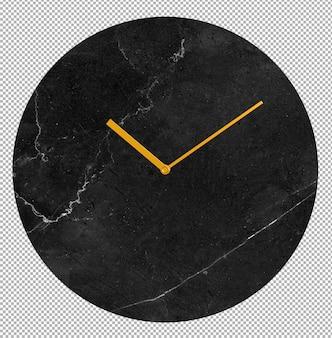 Relógio de parede isolado. relógio de mármore. móveis agradáveis para o interior. plano de fundo transparente. vista isométrica frontal. 3d premium.