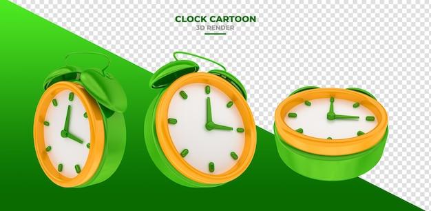 Relógio desenho animado 3d render alarme