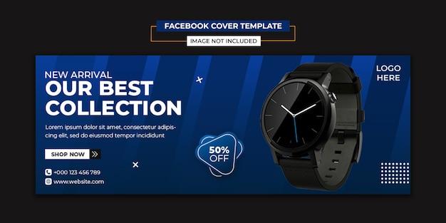 Relógio moderno de mídia social e modelo de capa do facebook