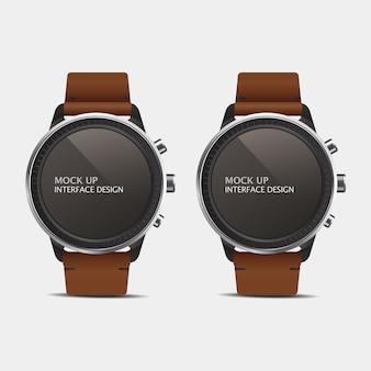 Relógios inteligentes com braceletes de couro
