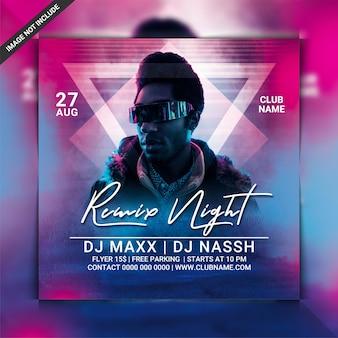 Remix de panfleto de festa à noite
