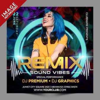 Remix sound vibes psd postagem em mídia social