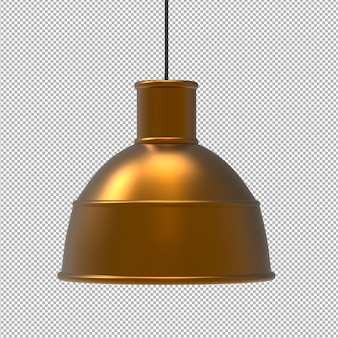 Renda da lâmpada isolada do teto. vista frontal isométrica. parede transparente. 3d premium.