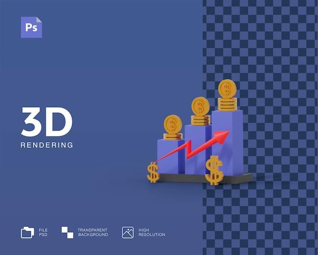 Renda de lucro de ilustração 3d