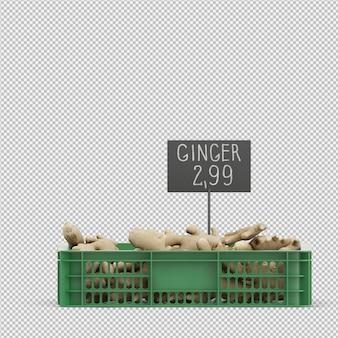 Render 3d gengibre isométrico