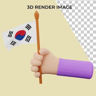 Renderização 3d à mão com conceito do dia nacional da coreia do sul premium psd