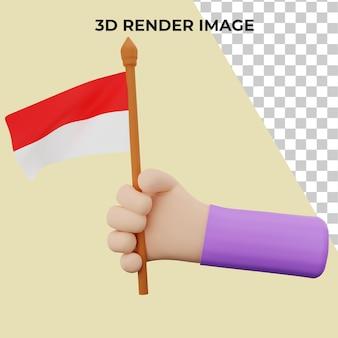 Renderização 3d à mão com conceito premium do dia nacional da indonésia psd