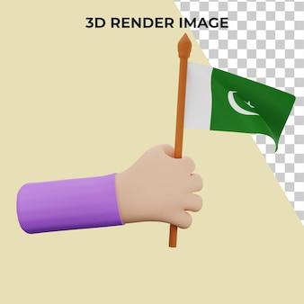 Renderização 3d à mão com conceito premium do dia nacional do paquistão psd