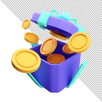 Renderização 3d abrir caixa de presente surpresa ganhar ponto conceito programa de fidelidade e obter recompensas Psd Premium