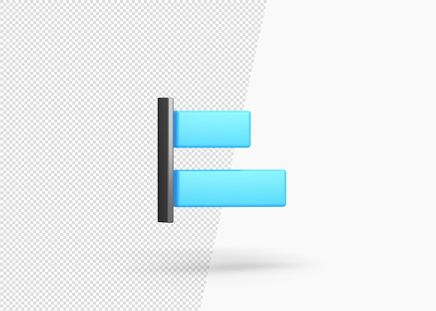 Renderização 3d - alinhamento horizontal isolado à esquerda