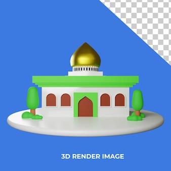 Renderização 3d, arquitetura de mesquita islâmica isolada