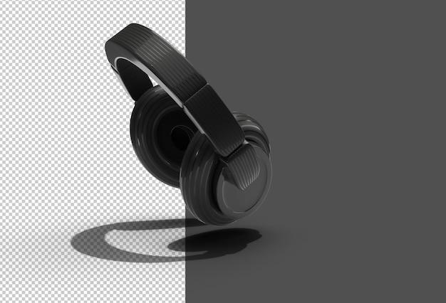 Renderização 3d arquivo psd transparente de fones de ouvido pretos.