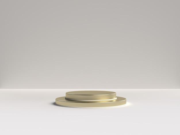 Renderização 3d branca e dourada do pódio de forma geométrica de cena abstrata para exibição de produtos