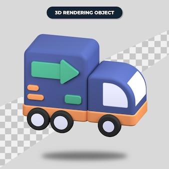Renderização 3d caminhão de entrega rápida