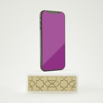 Renderização 3d cena completa islâmica com maquete de smartphone de tela