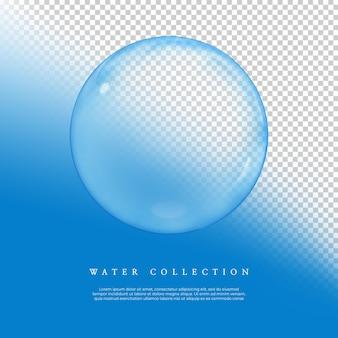 Renderização 3d coleção de bolhas de água no fundo transparente