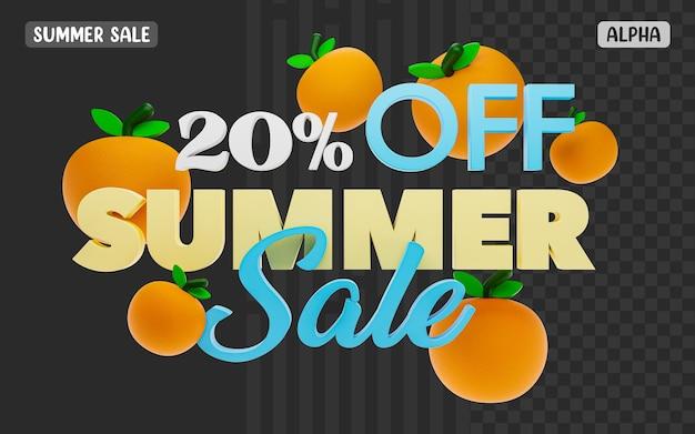 Renderização 3d com 20% de desconto no texto da promoção de verão