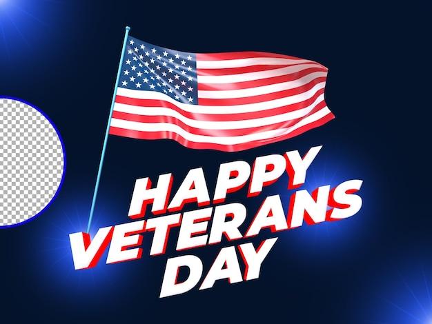 Renderização 3d com bandeira dos eua psd premium do dia dos veteranos
