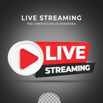 Renderização 3d com botão ao vivo mídia social postagem de streaming ao vivo