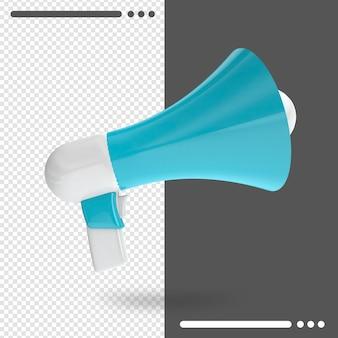 Renderização 3d com megafone azul isolado