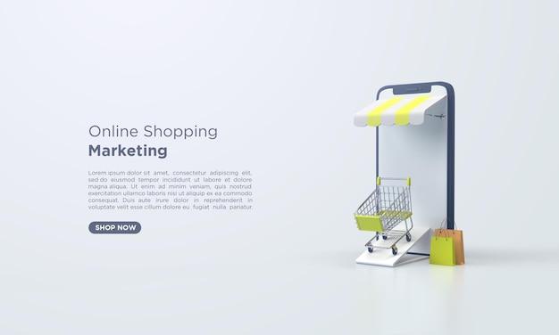 Renderização 3d compras online com celular e sacola de compras