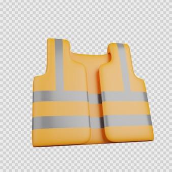 Renderização 3d conceito construção ícone colete de segurança trabalhador