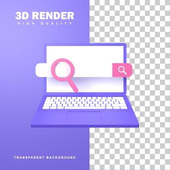 Renderização 3d conceito de otimização de seo com um mecanismo de pesquisa em um laptop.