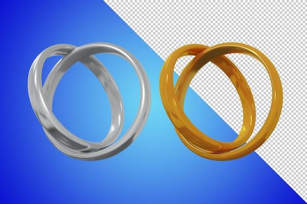 Renderização 3d da aliança de casamento isolada