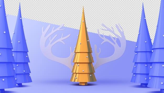 Renderização 3d da árvore de natal dourada e azul
