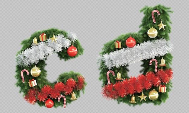 Renderização 3d da árvore de natal, letra c, letra d