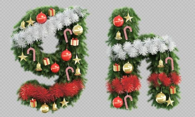 Renderização 3d da árvore de natal, letra g e letra h