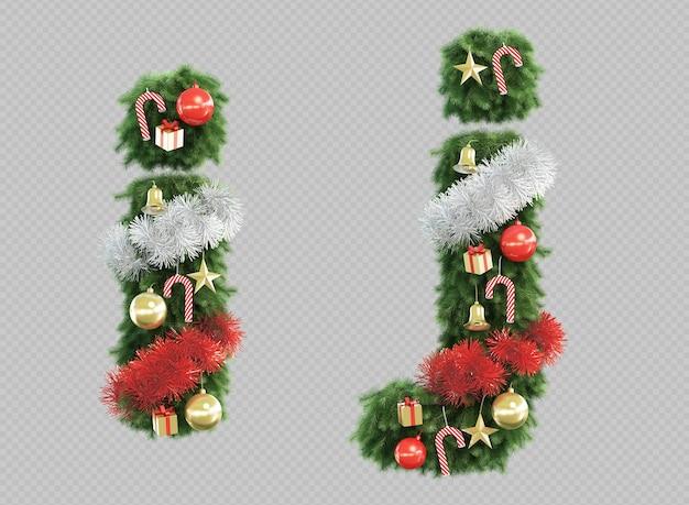 Renderização 3d da árvore de natal letra i e letra j