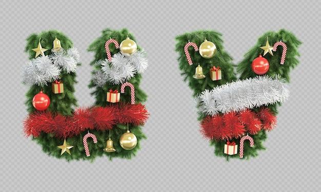 Renderização 3d da árvore de natal, letra u e letra v