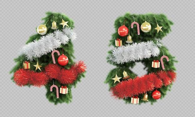 Renderização 3d da árvore de natal número 4 e número 5