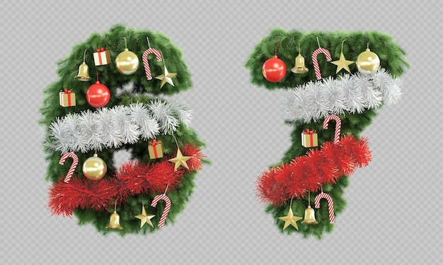 Renderização 3d da árvore de natal número 6 e número 7