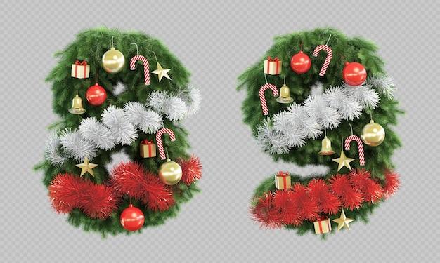 Renderização 3d da árvore de natal número 8 e número 9
