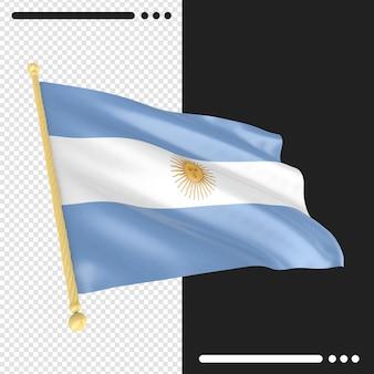 Renderização 3d da bandeira da argentina isolada